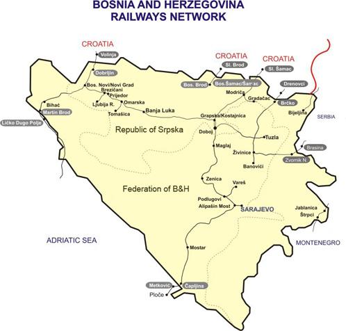 Rail Map Of Bosnia And Herzegovina - Bosnia and herzegovina map